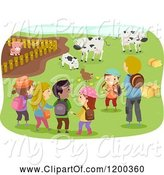 Swine Clipart of Cartoon Male Teacher and Happy Diverse School Children Visiting a Farm by BNP Design Studio