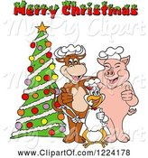 Swine Clipart of Cartoon Merry Christmas Greeting over a Chef Cow Pig and Chicken by a Tree by LaffToon