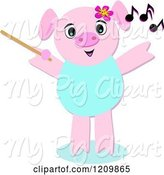 Swine Clipart of Cartoon Music Composer Pig Waving a Wand by Bpearth