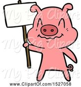 Swine Clipart of Cartoon Nervous Pig by Lineartestpilot