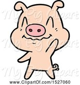 Swine Clipart of Cartoon Nervous Pig Waving by Lineartestpilot