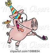 Swine Clipart of Cartoon New Year Party Pig by Toonaday