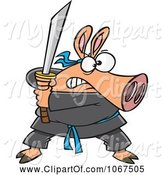 Swine Clipart of Cartoon Ninja Pig with Sword by Toonaday