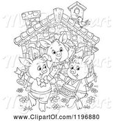 Swine Clipart of Cartoon Outline of the Three Little Pigs Dancing at a Cottage by Alex Bannykh