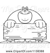 Swine Clipart of Cartoon Outlined Buff Pig Behind a Wooden Sign by Cory Thoman