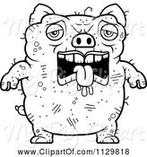 Swine Clipart of Cartoon Outlined Depressed Ugly Pig by Cory Thoman