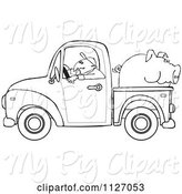 Swine Clipart of Cartoon Outlined Farmer Driving a Truck with Pig in the Bed by Djart