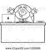 Swine Clipart of Cartoon Outlined Happy Boss Business Pig at an Office Desk by Hit Toon