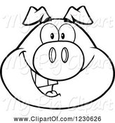 Swine Clipart of Cartoon Outlined Happy Smiling Pig Face by Hit Toon