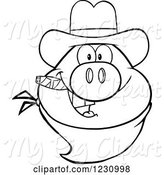 Swine Clipart of Cartoon Outlined Pig Head with a Cowboy Hat Cigar and Bandana by Hit Toon