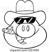Swine Clipart of Cartoon Outlined Pig Head with a Cowboy Hat, Cigar and Sunglasses by Hit Toon