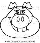 Swine Clipart of Cartoon Outlined Pig Head with Dollar Eyes by Hit Toon