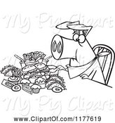Swine Clipart of Cartoon Outlined Pigging out Hog with Junk Food by Toonaday