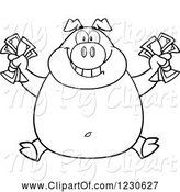 Swine Clipart of Cartoon Outlined Rich Pig Holding Cash Money by Hit Toon