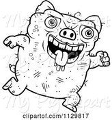 Swine Clipart of Cartoon Outlined Running Ugly Pig by Cory Thoman