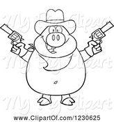 Swine Clipart of Cartoon Outlined Shooting Cowboy Pig by Hit Toon
