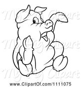 Swine Clipart of Cartoon Outlined Sitting Pig Pointing by Dero