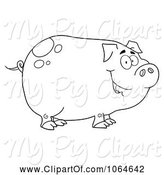 Swine Clipart of Cartoon Outlined Smiling Piggy by Hit Toon