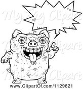 Swine Clipart of Cartoon Outlined Ugly Pig Talking by Cory Thoman