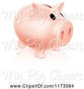 Swine Clipart of Cartoon Pale Pink Piggy Bank and Reflection on White by AtStockIllustration