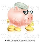 Swine Clipart of Cartoon Pension Piggy Bank with Glasses a Green Hat and Gold Coins by AtStockIllustration