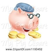 Swine Clipart of Cartoon Pension Piggy Bank with Glasses a Hat and Gold Coins by AtStockIllustration