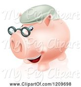 Swine Clipart of Cartoon Pension Piggy Bank with Glasses and a Green Hat by AtStockIllustration