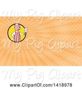 Swine Clipart of Cartoon Pig Butcher Holding a Cleaver Knife and Orange Rays Background or Business Card Design by Patrimonio