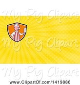 Swine Clipart of Cartoon Pig Butcher Holding a Cleaver Knife and Yellow Rays Background or Business Card Design by Patrimonio