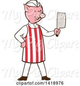 Swine Clipart of Cartoon Pig Butcher Holding a Cleaver Knife by Patrimonio