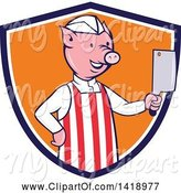 Swine Clipart of Cartoon Pig Butcher Holding a Cleaver Knife in a Blue White and Orange Shield by Patrimonio