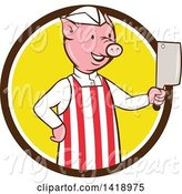 Swine Clipart of Cartoon Pig Butcher Holding a Cleaver Knife in a Brown White and Yellow Circle by Patrimonio