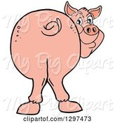 Swine Clipart of Cartoon Pig Butt, with Him Smiling Back by LaffToon