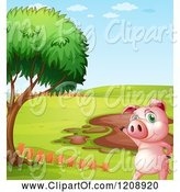 Swine Clipart of Cartoon Pig by a Mud Puddle by Graphics RF