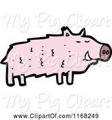 Swine Clipart of Cartoon Pig by Lineartestpilot