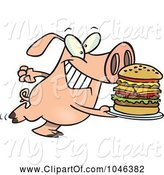 Swine Clipart of Cartoon Pig Carrying a Big Burger by Toonaday