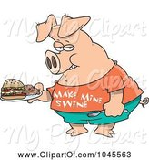 Swine Clipart of Cartoon Pig Carrying a Sandwich by Toonaday
