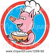 Swine Clipart of Cartoon Pig Chef Holding a Bowl of Soup in a Red White and Blue Circle by Patrimonio