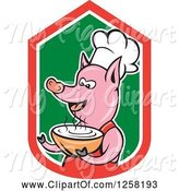 Swine Clipart of Cartoon Pig Chef Holding a Bowl of Soup in a Red White and Green Shield by Patrimonio
