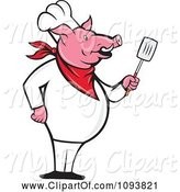 Swine Clipart of Cartoon Pig Chef Standing Upright and Holding a Spatula by Patrimonio