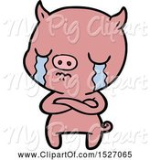 Swine Clipart of Cartoon Pig Crying by Lineartestpilot