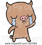 Swine Clipart of Cartoon Pig Crying Waving Goodbye by Lineartestpilot