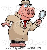 Swine Clipart of Cartoon Pig Detective Using a Magnifying Glass by Cory Thoman