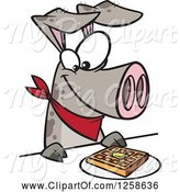 Swine Clipart of Cartoon Pig Eating a Waffle by Toonaday