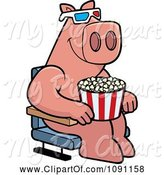 Swine Clipart of Cartoon Pig Eating Popcorn and Watching a 3d Movie at the Theater by Cory Thoman