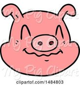 Swine Clipart of Cartoon Pig Face by Lineartestpilot