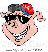 Swine Clipart of Cartoon Pig Face Wearing a Bbq Hat and Shades by LaffToon