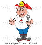 Swine Clipart of Cartoon Pig Firefighter Holding a Thumb up and a Bbq Fork by LaffToon