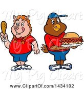 Swine Clipart of Cartoon Pig Girl Holding a Drumstick and Chicken Boy with a Pulled Pork Sandwich by LaffToon