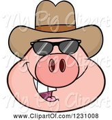Swine Clipart of Cartoon Pig Head with a Cowboy Hat and Sunglasses by Hit Toon
